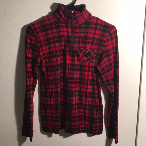 934f950d006 Chaps Tops - Chaps Red plaid 1 4 zip long sleeve sweater